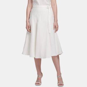 DKNY Belted Midi Skirt